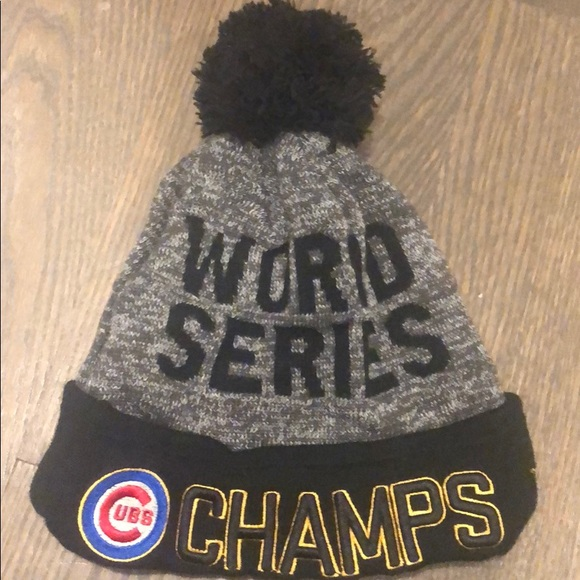 Chicago Cubs World Series Winter Pom Hat. M 5bff75a57386bc6b728eb078 486cef5eaeb